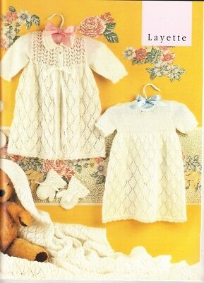 Vintage Baby Lacy LAYETTE Shawl Knitting Pattern Copy  8 pieces 3 Ply