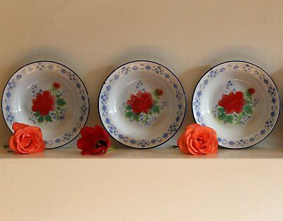 3 Vintage French Romantic Enamel Plates with Red Roses