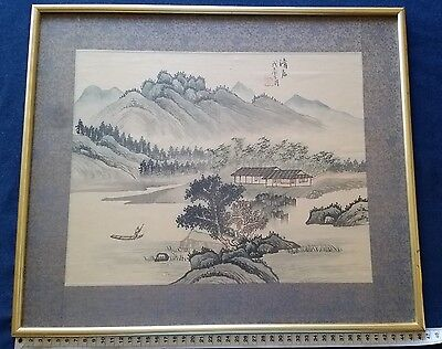 Vintage Hand-painte Watercolour on Silk Art  Signet Oriental Chinese or Japanese