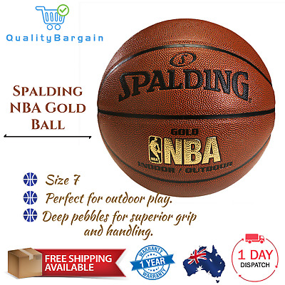 Authentic Spalding Size:7 with NBA Gold Ball Official Basketball Indoor Outdoor