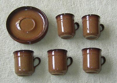 Denby Stoneware Set 5 Small Brown Cups & Saucers
