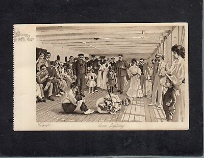 Passengers at deck game Cock Fighting artist Bibby Line postcard