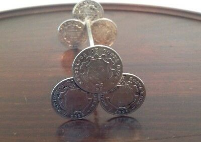 Antique Knife Rest Made Six 1924 Costa Rica Foreign 65% Silver 25 Centimos Coins