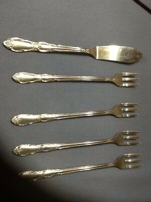 4 Antique  Wm A Rogers Onieda Cocktal Forks And One Butter Knife