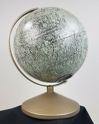 Vintage Replogle 6 inch Lunar Moon Globe And Coin Bank Combo Tin Litho Detailed