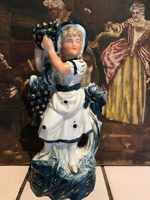 ANTIQUE VICTORIAN GLAZED PORCELAIN FIGURE C1890s 3383