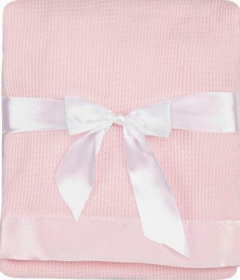 Thermal Waffle Weave Baby Blanket with Satin Nylon Trim pink