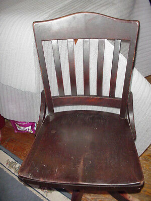 Office Chair Wood Slat  Swivel Tilt Vintage  Antique Industrial Machine Age