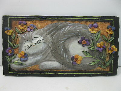 Colorful Pansy Cat Plaque 3-D Textured Folk Art Design E.Smithson SIGNED