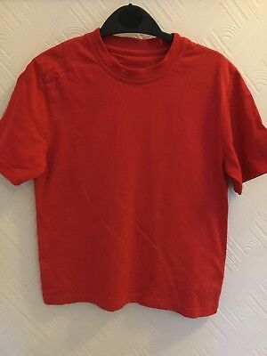 Kids girls / boys M&S Red Cotton T-Shirt- Age 8 years. Excellent condition.