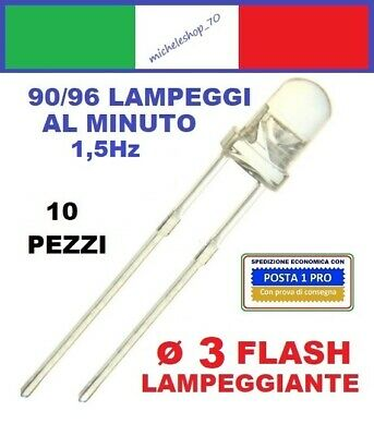 diodo led lampeggiante diametro 3mm lente trasparente, LED flashing diode 3mm