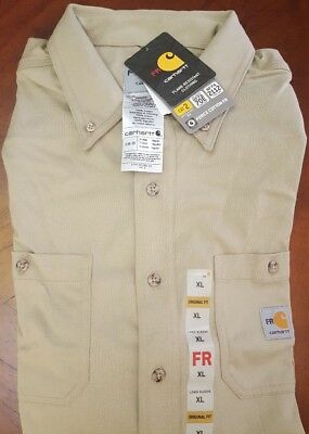 NWT Carhartt Flame Resistant FR Force Cotton Hybrid XL Mens Long Sleeve Shirt