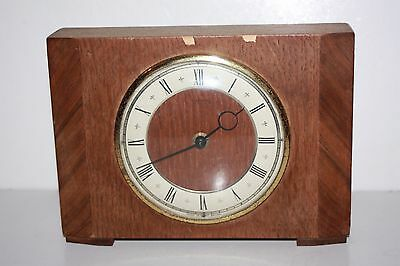 Old Wooden Smiths Mantle Clock - Not Working - Sold as Spares or Repairs