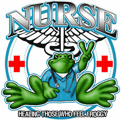 "Peace Frogs Nurse Sticker ~ 5"" Diameter ~ High Quality Vinyl ~ Ships Free!!!"