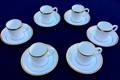 Special Edition Crown Staffordshire 6 Coffee / Espresso Cups Golden Glory
