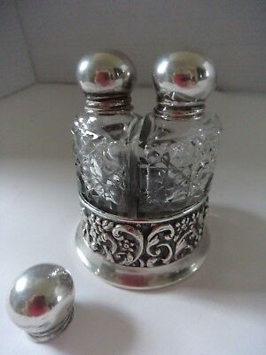 silver & cut glass perfume set Boots Pure Drug Co hallmarked 1904