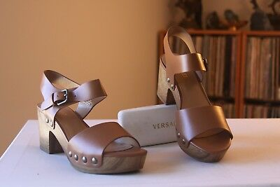 e018d7a46ab Nine West Cecilia Brown Man Made Platform 2 3 4 Inch Heel Sandals Size 5.5