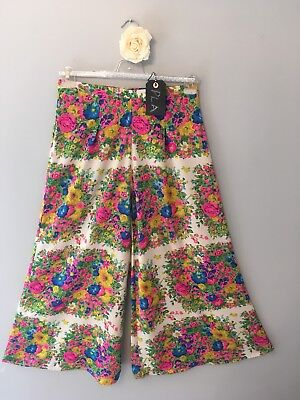 Topshop High Waist Wide Leg Palazzo Trousers Flared Loose Floral Print Size 12