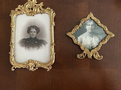 Two Antique Dore Bronze Gilt Metal Frames On Stand. Royal M. Mfg