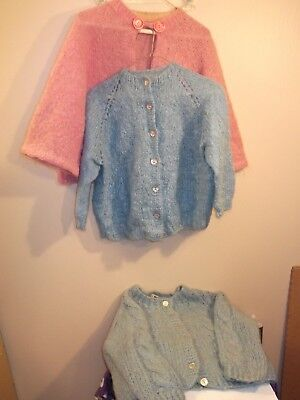 LOT of 3! Vintage Mohair Sweaters Pink Baby Blue cardigans cabled & cape style
