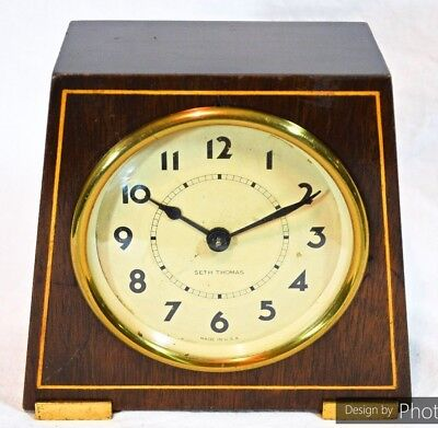 Antique Seth Thomas Solid Wood Mahogany & Brass  8 Day Center Wind Shelf Clock