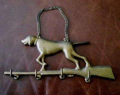 Vtg Cast Iron? Metal 1950's Pointer HUNTING DOG Rifle GUN KEY Hooks Rack Holder