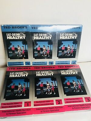 Ted Broer's Eat Drink & Be Healthy Volumes 1,2 & 3 VHS Tapes Men & Women's