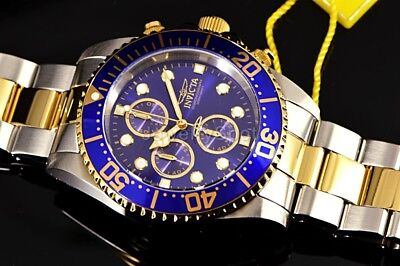 1773 Invicta Pro Diver Chronograph 43mm 2 Tone Gold Plated Steel Blue $695 Watch