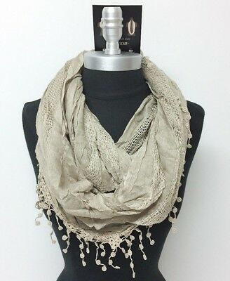 New Women's Solid basket-weave Infinity Loop Scarf 2-Circle Wrap Soft Taupe
