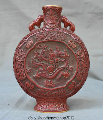 "11 ""Alte China Red Dynastie Palace Dragon flache Blume Vase Flasche Topf"