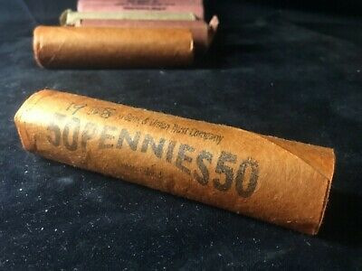 WELLS FARGO  OBW Roll Lincoln Cent Wheat Penny Rolls UNSEARCHED REAL old cents
