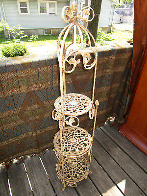 Vintage Cast & Wrought Iron Scroll Work 3 Tier Stand Ornate Victorian Garden