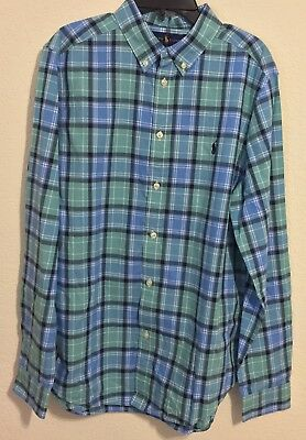 NWT Ralph Lauren Boys Long Sleeve Plaid Cotton Shirt Green Multi Size M (10-12)