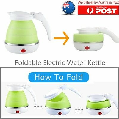 Green Travel Silicone Foldable Collapsible Electric Water Kettle Boiler 500ml