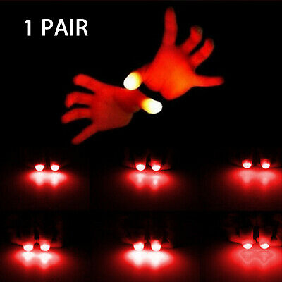 2x LED Finger Thumbs Light Red Color Flashlight Magic Prop Party Bar Show Lamp