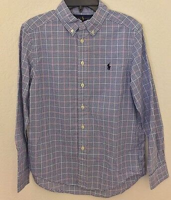 NWT Ralph Lauren Boys Long Sleeve Plaid Cotton Shirt Blue Multi Size L (14-16)