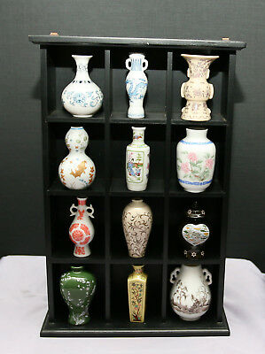 A Collection of 12 Different Fine Porcelain Miniature Vases  In Display Case