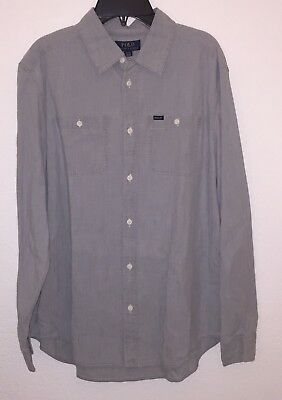 NWT Ralph Lauren Chambray Cotton L/S Shirt Big Boys Grey Gray Size XL (18-20)