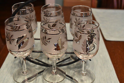 Vintage Wine Glasses with Caddy