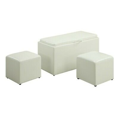Convenience Concepts Designs4Comfort Sheridan Bench, 2 Ottomans, White - 143012W