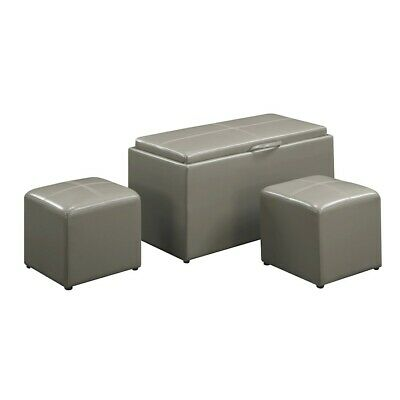 Convenience Concepts Designs4Comfort Sheridan Bench, 2 Ottomans, Grey - 143012GY