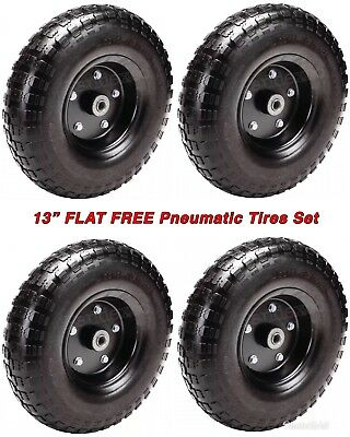 "4 Lot - FLAT-FREE Heavy Duty 13"" Pneumatic Tire/Wheel w/Powder Coated Steel Hub"