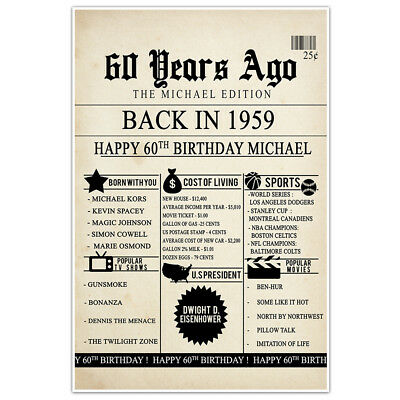 60th Birthday Newspaper Born in 1959 Stats Sign Poster