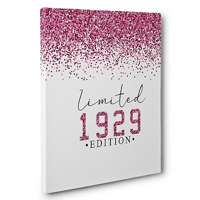 Limited Edition Pink Glitter 90th Birthday 1929 Vertical CANVAS Wall Art