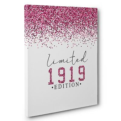 Limited Edition Pink Glitter 100th Birthday 1919 Vertical CANVAS Wall Art