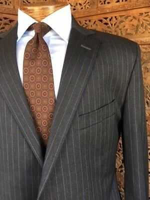 Brooks Brothers Suit 1818 Fitzgerald Classic Gray Pinstripe Sz 44R 44 R USA Made
