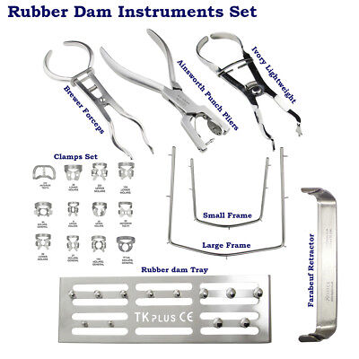 Rubber dam Instrument Ainsworth Punch Brewer Ivory Light weight frame Clamps Set