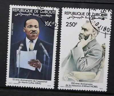 DJIBOUTI 1983 Martin Luther King & Alfred Nobel. Set of 2 Fine USED/CTO SG881/82