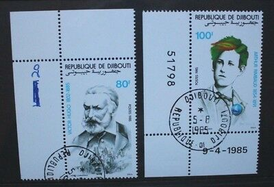 DJIBOUTI 1985 Victor Hugo & Arthur Rimbaud. Set of 2. Fine USED/CTO. SG955/956.