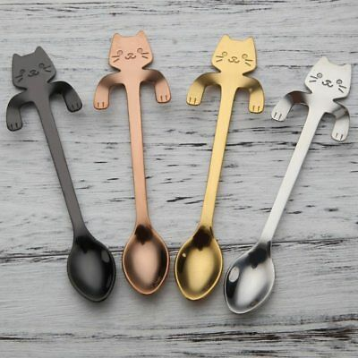 2X Cartoon Cat Spoon Stainless Steel Tea Coffee Spoon Ice Cream Tableware Gift